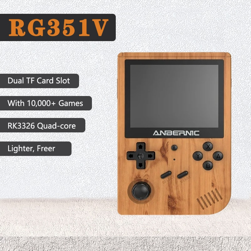 Consola de videojuegos Retro RG351V 2021 de CPU de 1,5 GHz 10.000 juegos integrados Mini reproductor