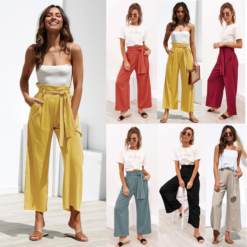 Женские летние брюки с широкими штанинами, женские повседневные длинные брюки, женские модные брюки большого размера