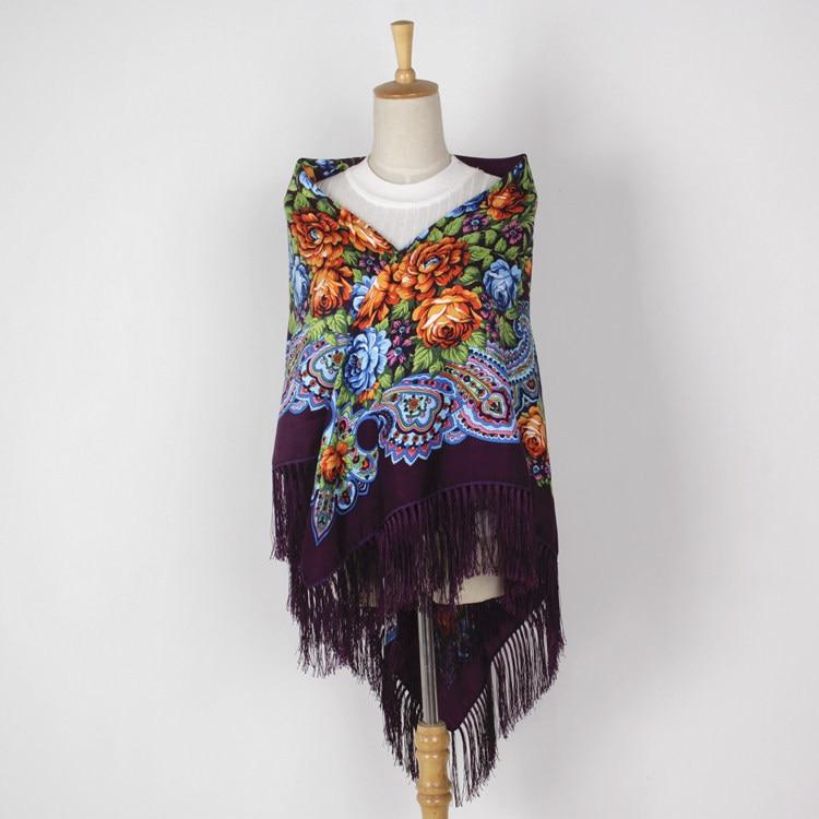 Bufanda chal Squar grande moda mujer estampado estilo ruso diseños nacionales con cuatro lados borla Oversize Wrap 135CM * 135CM 02