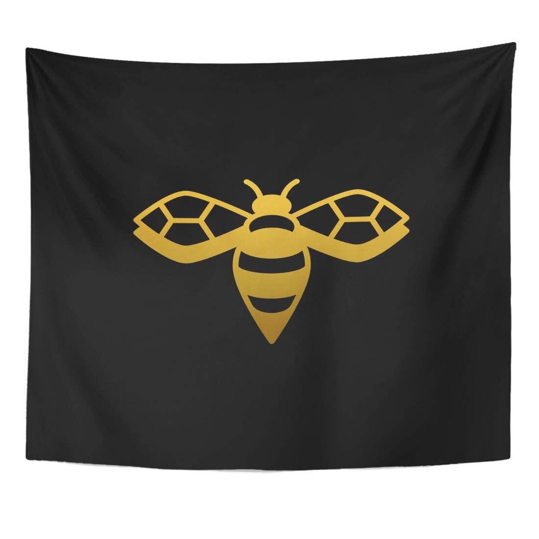 Hexágono, Abeja De Oro dorada, símbolo negro, Reina, belleza abstracta, tapiz de colmena, decoración de pared para el hogar, colgante para el dormitorio de la sala de estar