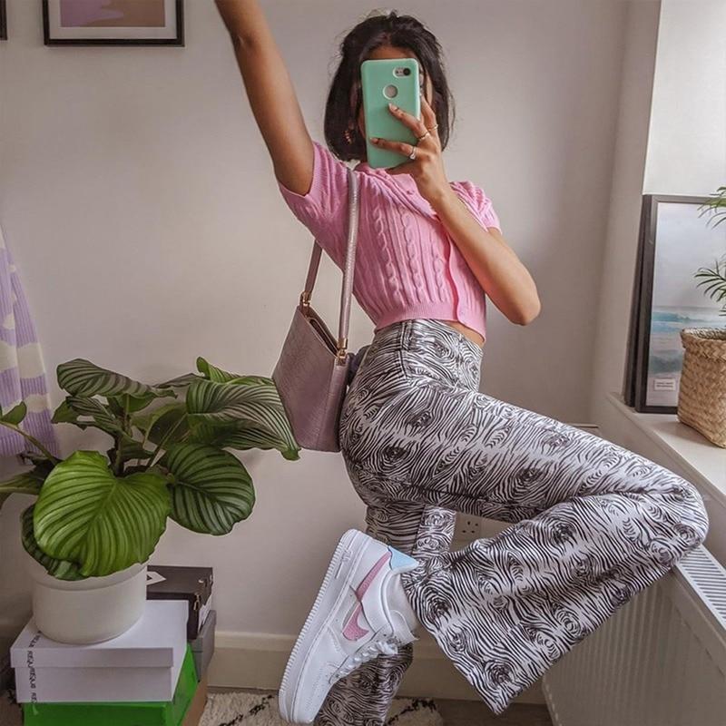 Женские брюки с завышенной талией, расклешенные брюки, женские брюки в полоску с принтом дерева для E-girl, повседневные брюки, длинные брюки в ... olive e miele повседневные брюки