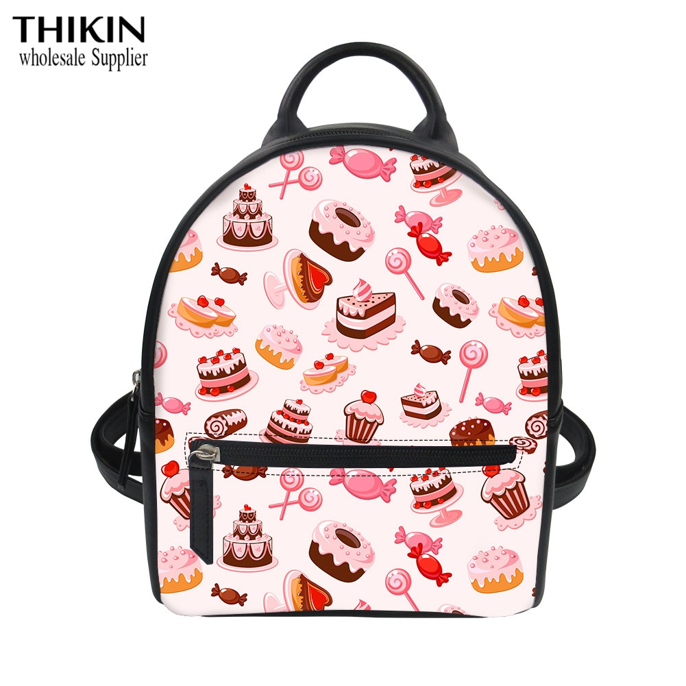 THIKIN Cake Pattern Dessert Lovers Mini Backpack for Women Luxury School for Teenagers Girls Custom Bags Lady Rucksack Bolsa