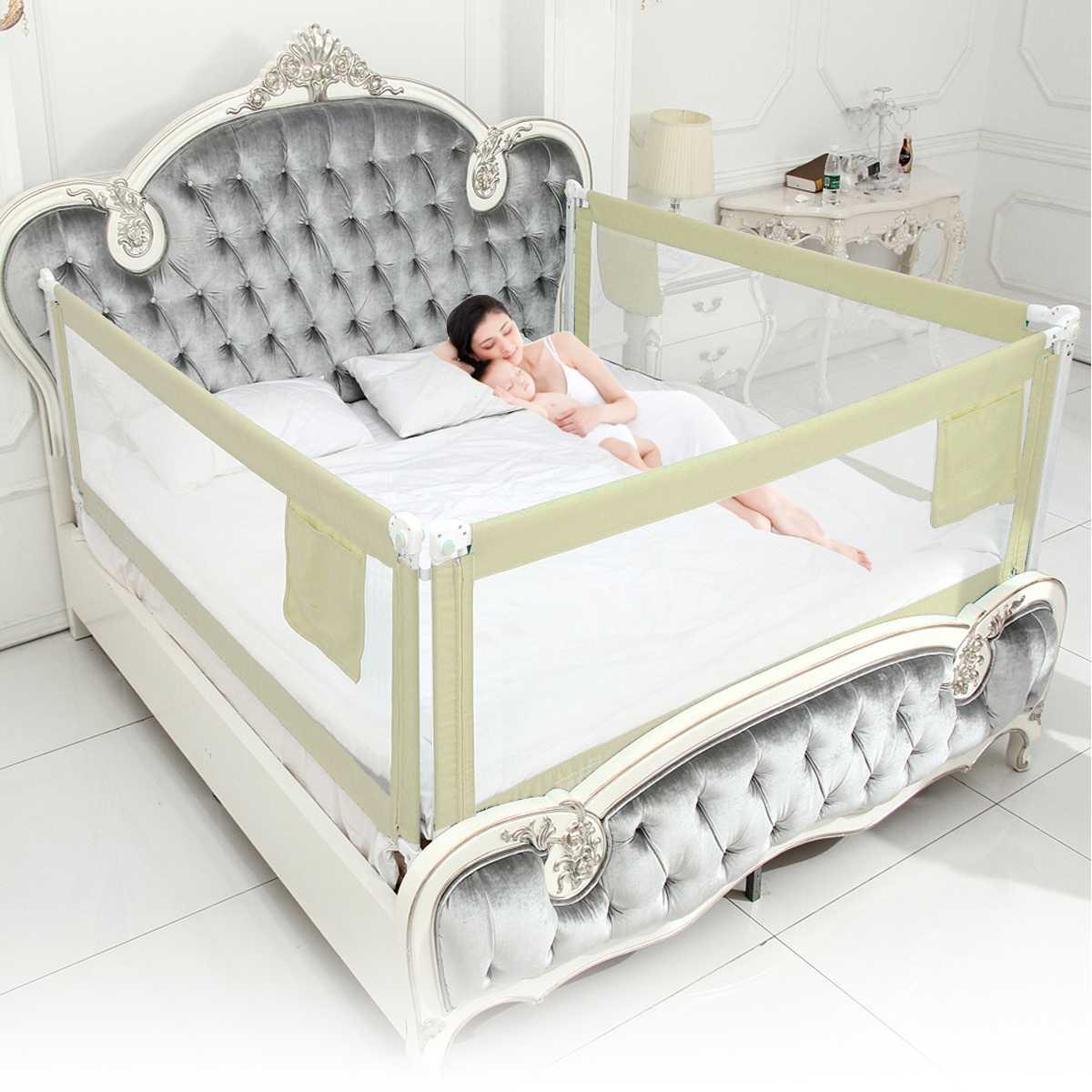 CE Certification 1.5-2m Newborn Baby Safety Fence Guard Adjustable Bed Rail Infant Bed Pocket Playpen Kids Bed Guardrail Rail