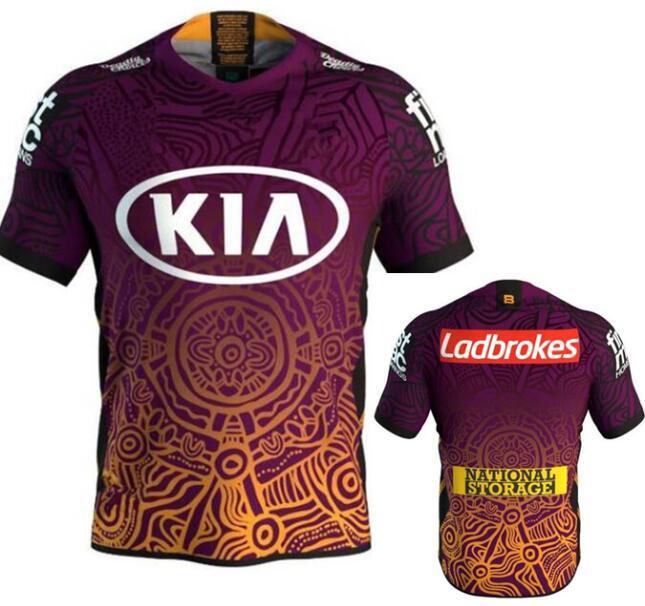 2020 brisbane broncos camisa indígena rugby casa formação shorts jérsei Camisetas de rugby    -