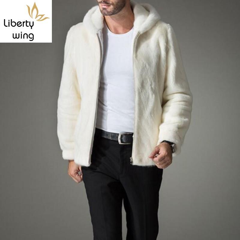 جديد وصول أعلى جودة رجل الأبيض فو البريدي معطف رجل الفراء مقنعين سترة دافئة أبلى شهم معاطف زائد حجم S-4XL