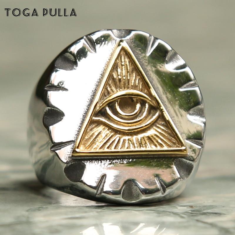 Olho egípcio de horus ra udjat amuleto signet anel sólido 316l aço inoxidável dos homens do punk motor biker anéis egito amuleto jóias