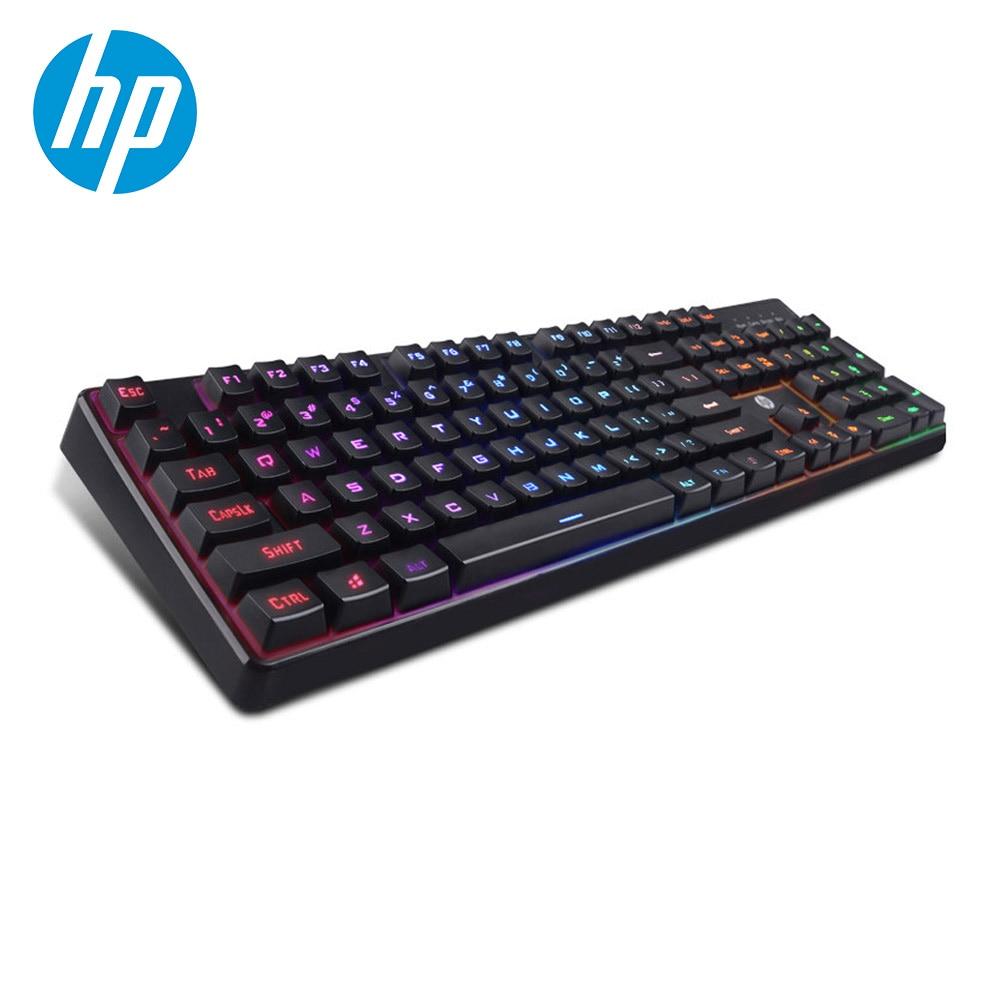 Teclado de juegos por cable de sensación mecánica HP Teclado retroiluminado LED colorido para ordenador PC y portátil Gamer para PUBG LOL CS