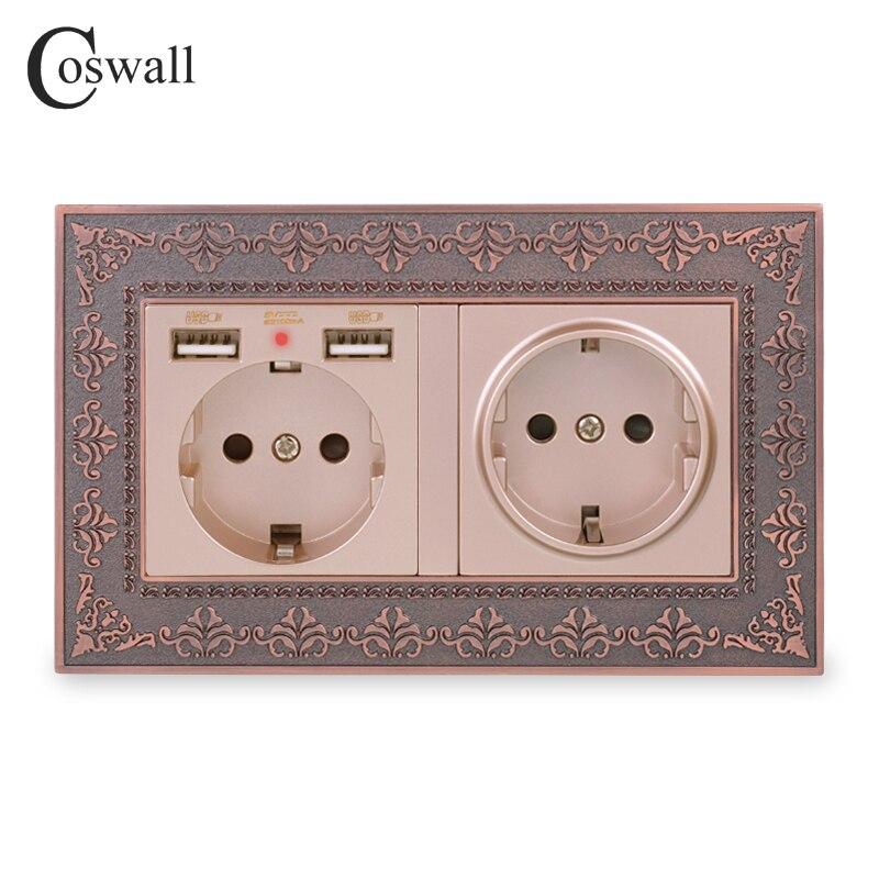 COSWALL doble Rusia España enchufe de pared estándar de la UE con 2 puertos de carga USB oculto suave LED indicador Vintage Marco de aleación de Zinc