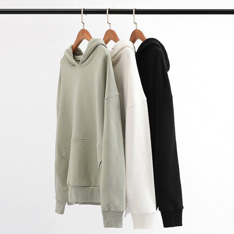 2021 الربيع والخريف جديد الرجال طويلة الأكمام هوديي موضة عادية لون نقي فضفاض القطن لباس أبيض