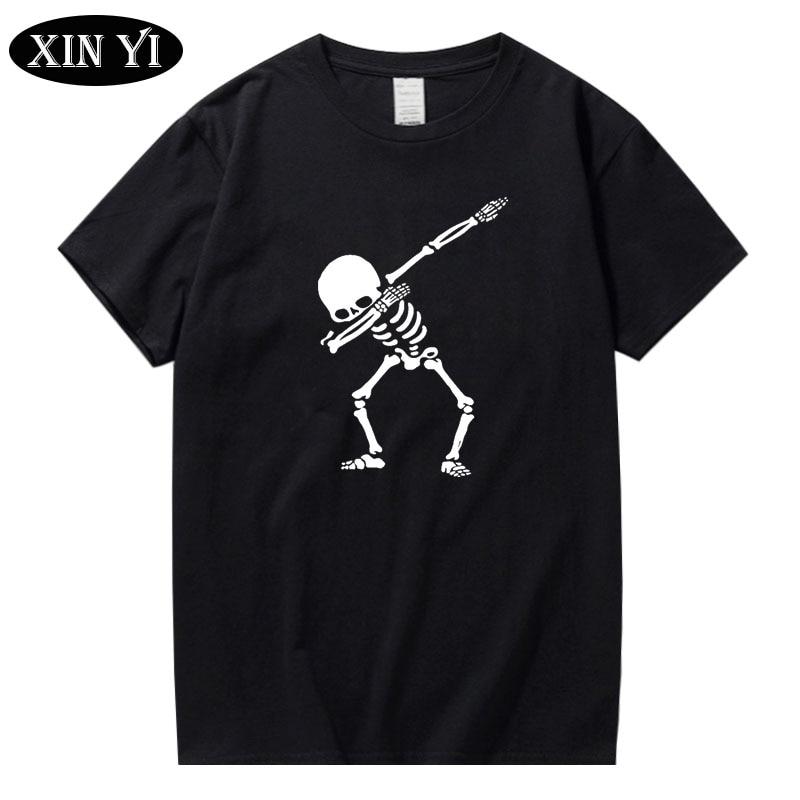 XIN YI Men's t-shirt High quality 100% cotton for men short sleeve print skull t shirt casual o-neck men tee shirts Funny tshirt xin yi men s t shirt100