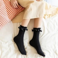 spring and autumn trend cute lace wooden ear socks women pure cotton fashion breathable three dimensional pattern long socks
