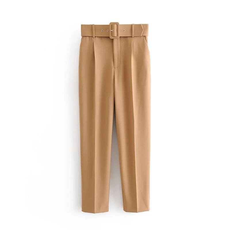 Pantalones rectos ZA largos de 5 colores a la moda para mujer otoño 2019, pantalones casuales de algodón color caqui con cinturón