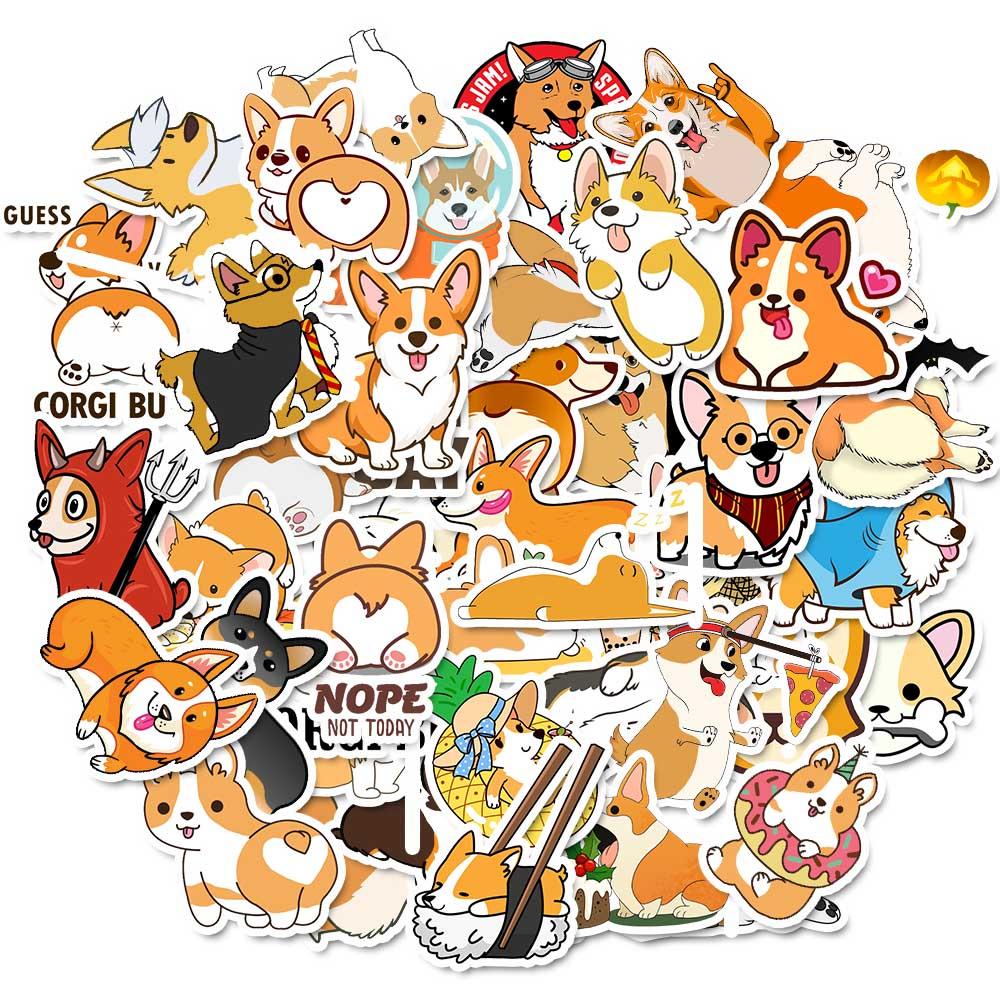 TD ZW 50pcs Pet Corgi Dog Stickers Cute Cartoon Stickers On Lptop Cup Water Bottle Luggage Phonecase DIY Stickers Animal Sticker