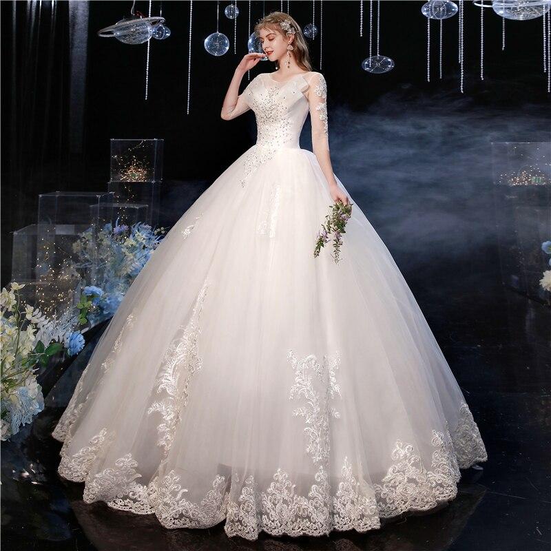 فستان زفاف من الدانتيل ، مقاس كبير ، نصف كم ، مطرز ، ترتر ، أنيق
