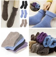 1pair comfortable winter women socks thicken thermal warm wool christmas mid calf socks woolen pure color cashmere socks gift