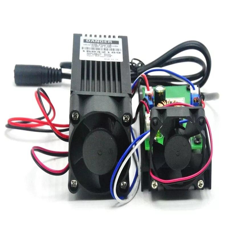 Мощный 450 нм 2 Вт Синий Лазер Модуль +Гравировка Лазеры Фокус Точка Вт 12 В Адаптер 2000 МВт