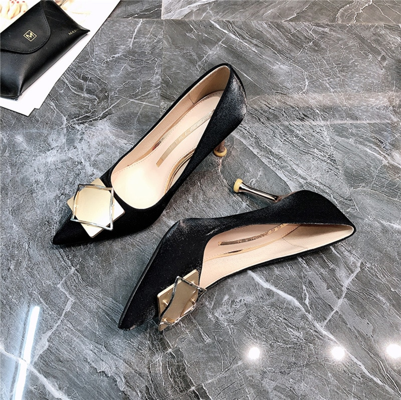 2021 New Women Pumps PU Pointed Toe Mental Decoration Shoes Casaul Party Wedding Stiletto Ladies Shoes Mother's Day Gift