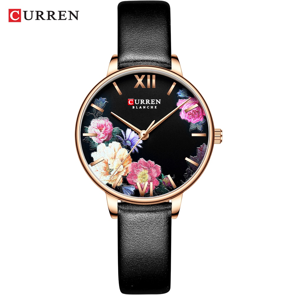 2019 Fashion Trend Flower Leather Watches CURREN Classic Black Wristwatch Female Clock Ladies Quartz Watch relogios feminino