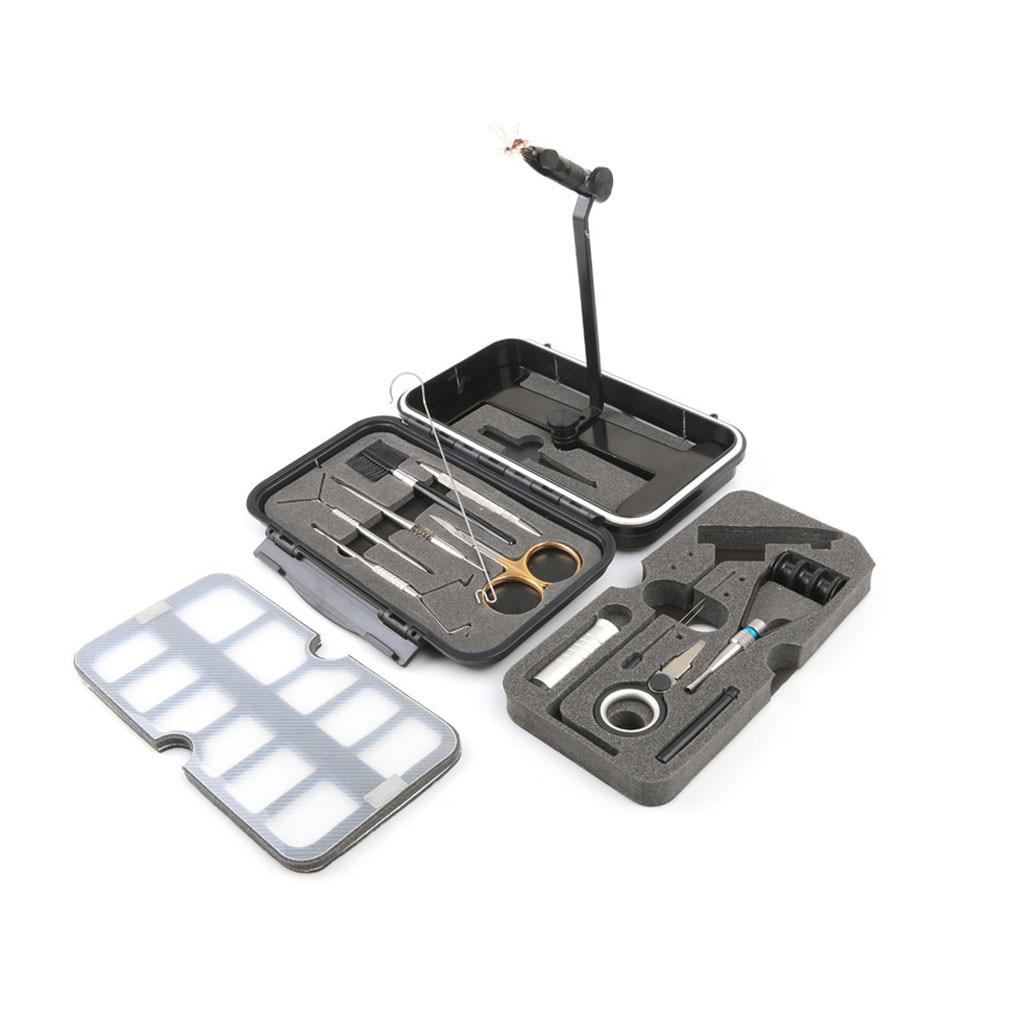 Kit de herramientas de atado de moscas rotatorio tornillo de banco de aleación de viaje con atado de moscas