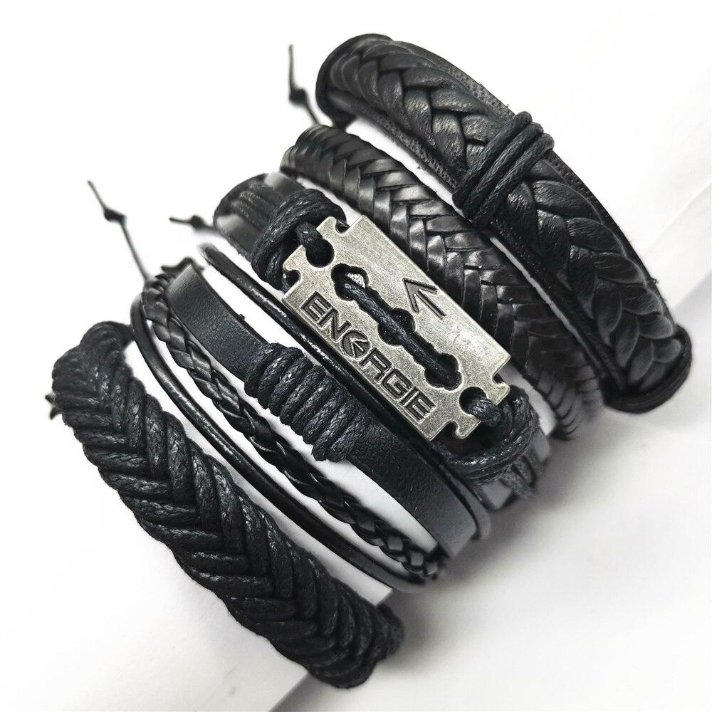 Pulseras de hoja negra, Taichi caqui con alas de plumas para hombres, 5 unidades/conjunto de brazalete, brazalete de cuero, pulseras de mujer, accesorios de joyería