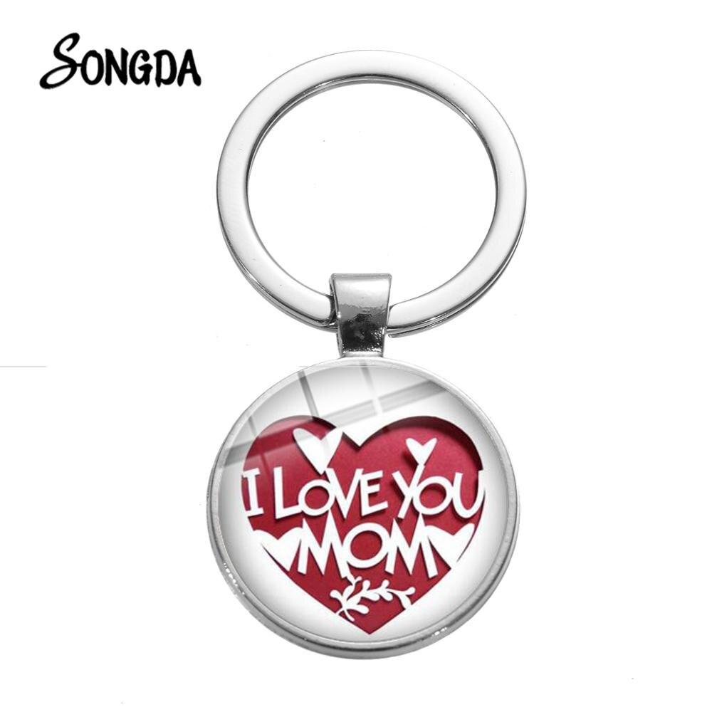 Llavero de corazón creativo con estampado de papel I Love you Mom, llavero de cristal, joyería para el Festival de la madre, regalo familiar, recién llegado
