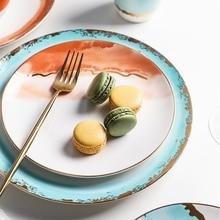 Ensemble dassiettes de table peintes en encre   Incrustation en or, assiettes de table, tasses et bols, cadeau du nouvel an