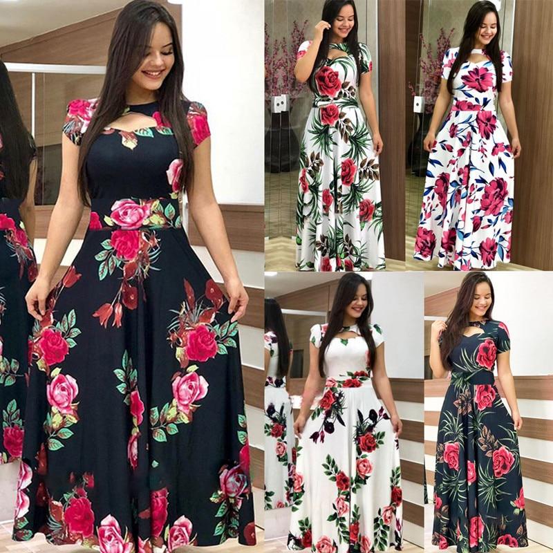 Elegant Summer Women's Dress 2020 Casual Bohemia Flower Print Maxi Dresses Fashion Hollow Out Tunic Vestidos Dress Plus Size 5XL