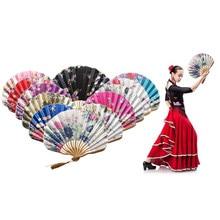 Eventail pliable en soie 1 pièce   Éventail à main en bambou, ventilateur pliable à main de Style chinois pour décoration de maison Vintage, cadeau de mariage déglise