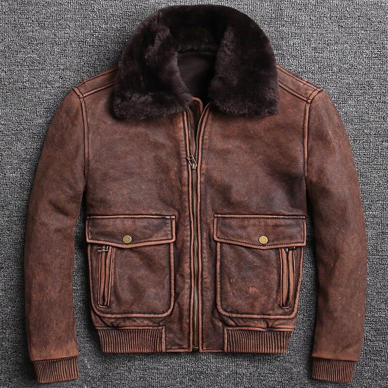 2020 dos homens do vintage marrom piloto jaqueta de couro gola lã plus size xxxxxl genuíno grosso casaco vôo militar