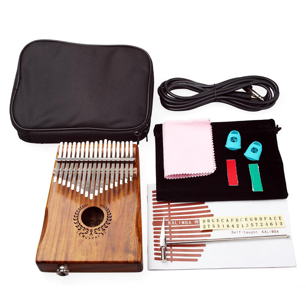17 Keys EQ kalimba Acacia Thumb Piano Link Speaker Electric Pickup with Bag Cable 17 keys Calimba Mini Piano kamfer enlarge