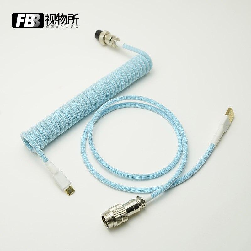 FBB كابلات معكرون السماء الزرقاء اليدوية لوحة المفاتيح Keycap خط نوع-C/Mini-USB/ميركو إلى موصل USB للوحة المفاتيح الميكانيكية