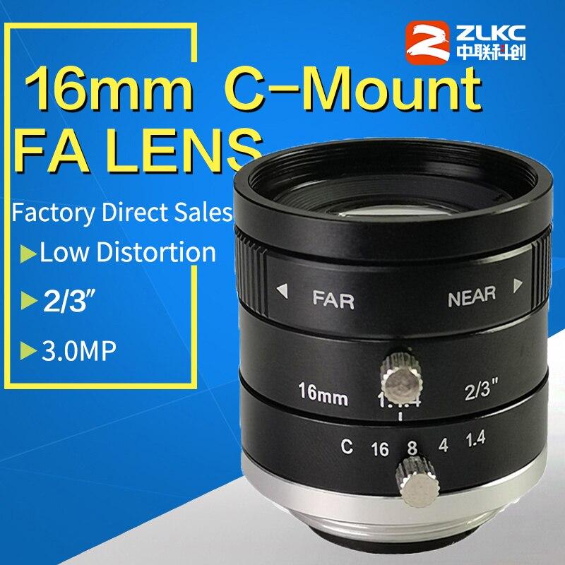 "3 Mega Pixel C Mount 16mm 2/3"" FA / Machine Vision fixed focal length lenses Industrial camera manual  Iris Lens"