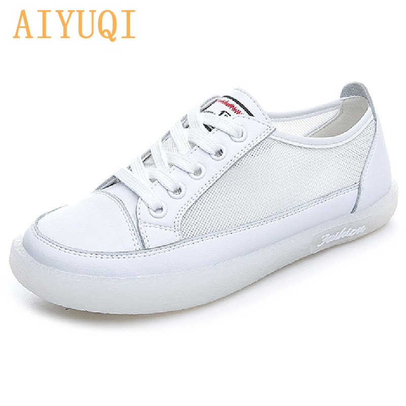 AIYUQI Women's Sneakers Mesh 2021 New Summer Genuine Leather Shoes Girls Mesh Casual Large Size Student Board Shoes Women