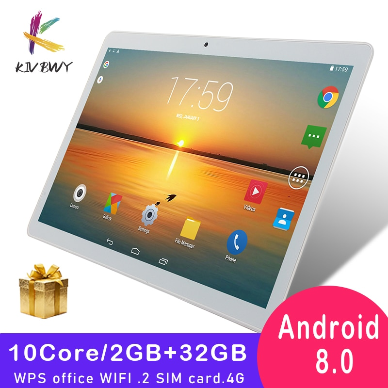 KIVBWY Tablet Pc 10.1 inch Android 8.0 Ram 2+32GB Tablets Octa Core Google Play 4G LTE Phone Call Bluetooth Tempered Glass