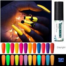VIER LILIE Nagel Gel Fluoreszierend Leuchtenden Gel Nagellack UV Glow In The Dark Gel Nagellack Lack Matte Top basis Mantel Primer
