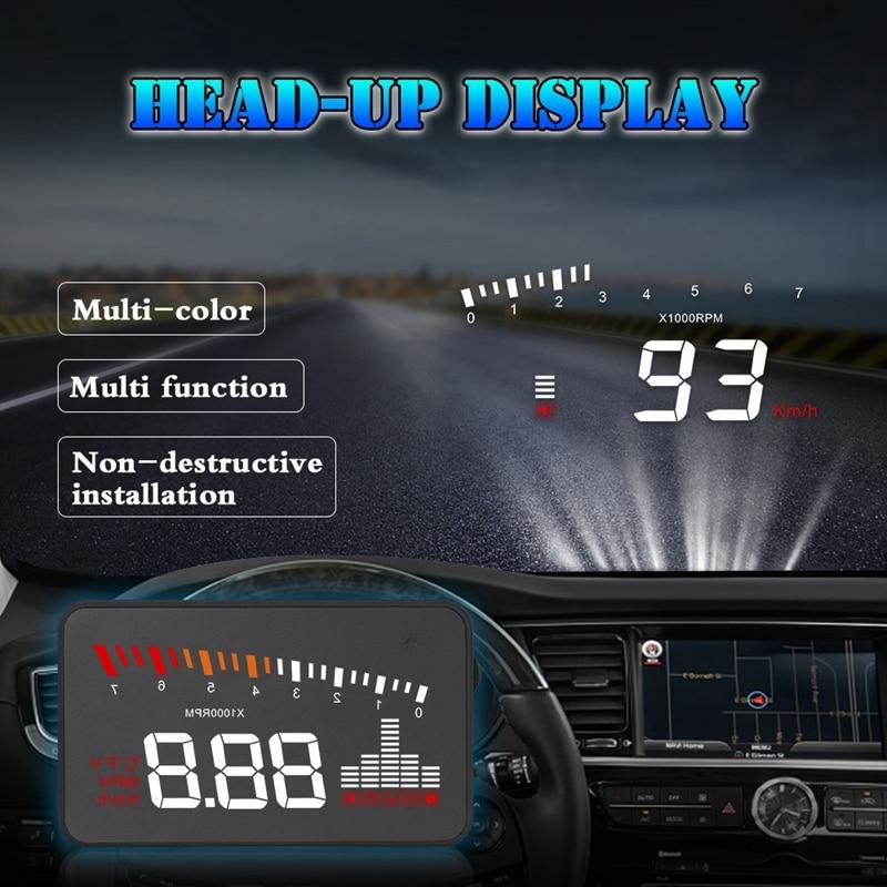 Nieuwe-Auto Elektronische Voltage Alarm 3.5 Hud Head-Up Display Auto OBD2 Hud Display Auto Snelheid Projector Digitale speeeter X5