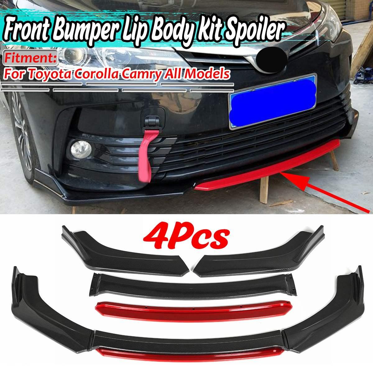 Universal 4pc Car Front Bumper Splitter Lip Diffuser Spoiler For VW Golf MK5 MK6 MK7 For Toyota Corolla Camry For Subaru For Kia