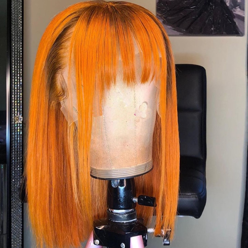 5*5Lace Orange Ginger Blonde  Lace Front Human Hair Wigs Short Bob Bands Straight 150 Density Remy Pre Pluck Brazilian Highlight