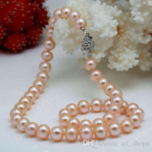 "2017 Nuevo collar de perlas redondas 8-9mm Akoya rosado 18"""