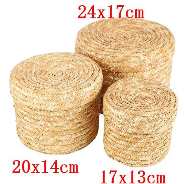 3 Pcs/Set Handmade Straw Woven Storage Basket With Lid Snack Organizer Storage Box Laundry Baskets Rattan Storage Flower Basket