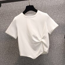 2021 Summer New Large Size Fashion Flab Hiding Super Versatile Slimming Design Short Sleeve T-shirt