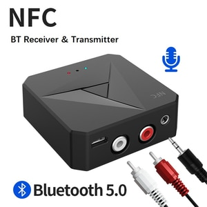 Bluetooth 5.0 Receiver Transmitter 3.5mm A2DP/AVRCP Music Wireless Audio Adapter Handsfree Call Mic NFC Car Kit For TV Auto ON