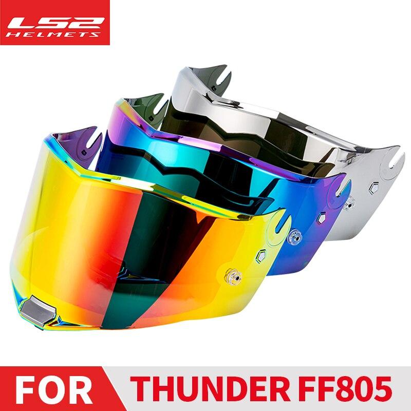 LS2 FF805 الرعد كامل الوجه دراجة نارية خوذة استبدال أقنعة الكروم الأحمر/الشظية oigial عدسة إضافية مع مكافحة الضباب التصحيح الثقوب
