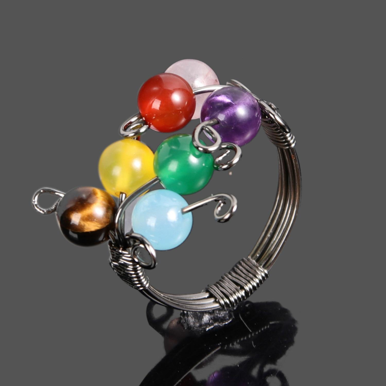 Anillos de envoltura de siete chakras hechos a mano Natural, siete cuentas de colores, anillos de Chakra indio para joyas, accesorios DIY, anillo 18-19mm