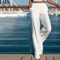 women solid color linen pants fashion loose wide leg pants fashion vintage long trousers basic pockets casual pants slacks