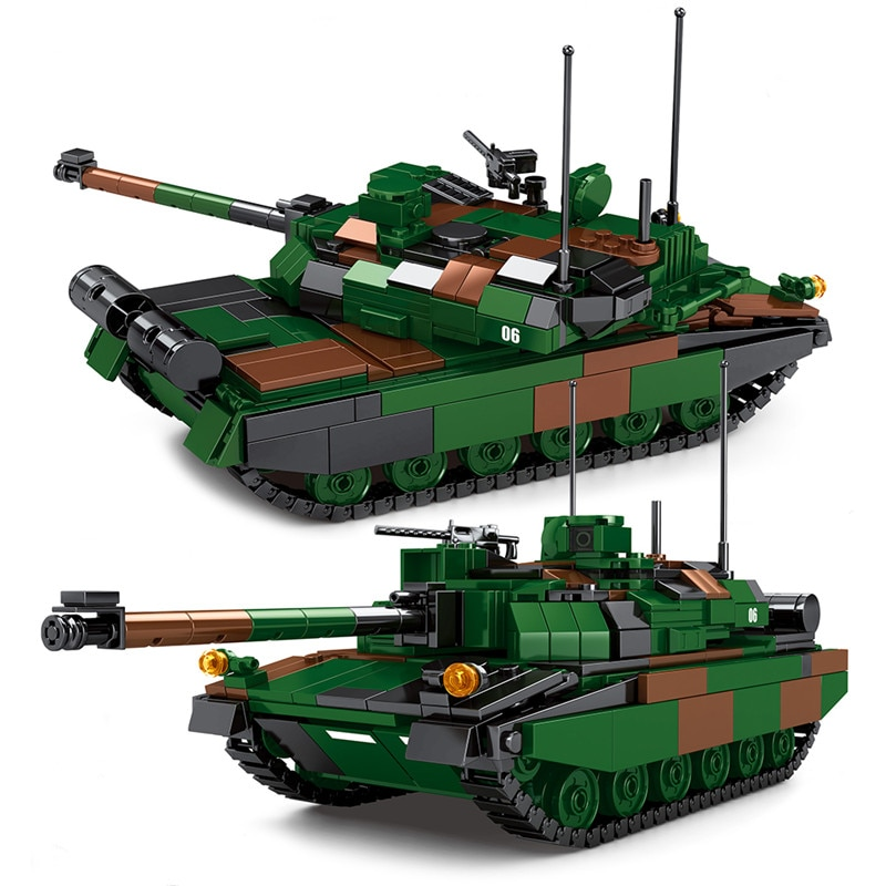 Military Weapon French Leclerc Main Battle Tank Vehicle Model Building Blocks DIY  Bricks Toys For Children Kids Gifts xingbao technic new military series 06033 the uk challenger2 main battle tank model blocks bricks toys figure christmas gifts