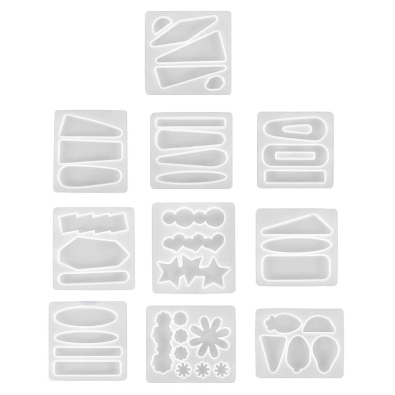 10Pcs Handmade Barrettes Silicone Epoxy Resin Molds Kit Hair Pins Jewelry Casting Mold Hair Clip Molds Kit Jewelry Tools