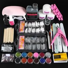 Kit acrylique Pro avec sèche-lampe à ongles ensemble de manucure à ongles complet colle à ongles liquide acrylique paillettes poudre ongles conseils Kit doutils dart des ongles