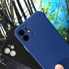 Color contrast Liquid Silicone Case For iphone 6 7 8 Plus 11 12 Pro Max X XS XR 5 5s Soft Lens Prote