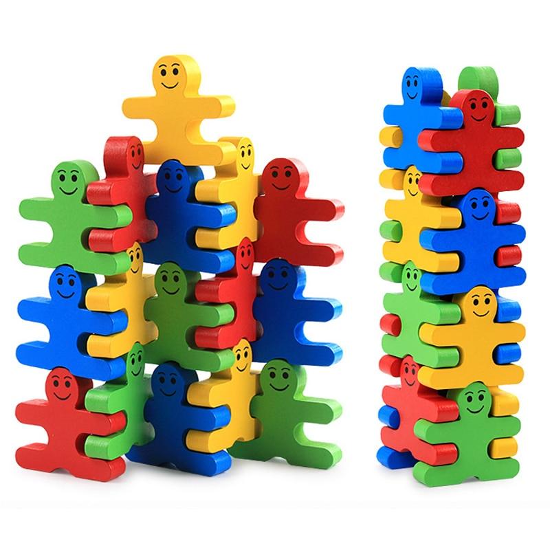16 unids/set de juguetes Montessori de madera, juguetes educativos para niños, materiales de aprendizaje temprano, equilibrio de inteligencia para bebés, juegos de villanos